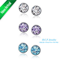 Manufacturers accessories wholesale custom-made crystal bright stud earrings(11 color choose)  fashion jewelary free shipping