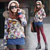 2013 new Autumn and winter women hooded raccoon fur collar printed flowers thick parka female coat down cotton-padded jacket