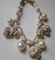 Luxury small pearl bracelet rose camellia bracelet 18cm