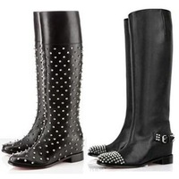 Brand Fashion celebrity Sexy Flat Shoes Winter Fall Knight Thigh Mid-Calf Rivets Spike Patent Leather PU Women Boots size 35-42