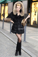 2012 New Fashion Women Geniue Rabbit & Raccoon Fur Jackets Coat With Hood Black M/L/XL/XXL/XXXL #WD001L