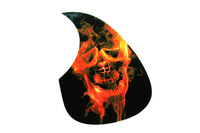 Custom Guard Plate Fits Used For Acoustic Guitar - Red Flame Skull Head Pattern Design Style