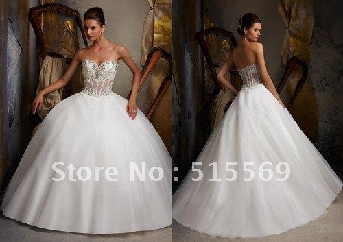 Sexy big ball gown sweetheart panel train organza applique for Big princess wedding dresses