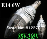20X  E14/E27/E12 3*2W 6W AC85-265V High Power LED Candle Lamp , white and warm white light Free Shipping
