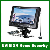 New 7 inch Car TFT LCD Color TV Monitor Remote Control with Analog TV free shipping