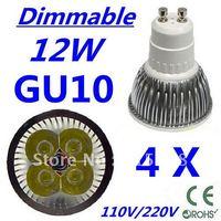 4pcs CREE Dimmable LED High power GU10 4x3W 12W led Light led Lamp led Downlight led bulb spotlight Free shipping