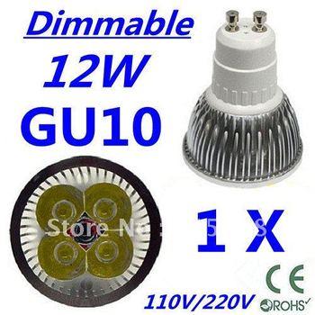 Retail CREE Dimmable LED High power GU10 4x3W 12W led Light led Lamp led Downlight led bulb spotlight Free shipping