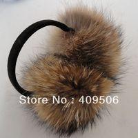 Free Shipping, 100% real natural genuine raccoon fur Plush 15-17cm Big Adult Winter Warm Ear Cover, Ear Warmer Headbands muffs