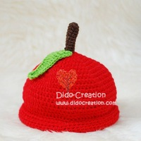 "Hot Sale Free shipping Handmade Cute Crochet Baby Toddler Children's beanie hat Cashmere fruit apple hat 16""-21.5"""
