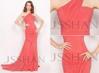 12P014 Celebrity One Shoulder Ruching Mermaid Chiffon Train Gorgeous Luxury Brilliant Formal Evening Dress  Long Prom Dress