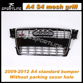 Top Quality  ABS chrome Car Grille A4 S4 Style car front mesh grill Black mesh chrome frame fits: 09-11 A4 B8 standard bumper