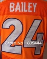 Free Shipping #24 Champ Bailey Men's Elite Football Jersey,Stitched Logos,Size M--3XL,Accept Mix Order