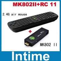 Free shipping New MK802 II Mini PC Allwinner A20 Cortex-A7  WIFI Google Smart TV Box+Flying Mouse Keyboard RC11