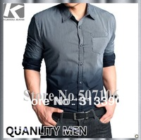 2012 NEW MEN'S SMOOTH 100%COTTON SHIRT, FASHION COLOR CHANGE DESIGNED SLIM-FIT SHIRT FOR MEN, FREE CHINA POST SHIPPING