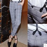 Free shipping 2015 autumn plus size black and white plaid pants elastic skinny pants harem Straps trousers