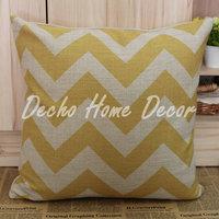 45*45cm Yellow Linen Chevron Zig Zag Wave Linen Cotton Cushion Cover