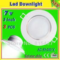 free shipping 3 pcs/lot ac-265v ultra bright led downlight 3 inch 7w Epistar 700 lumen aluminum profile warm / white light