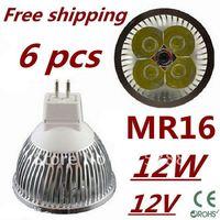 6pcs/lot LED High power MR16 4x3W 12W led Light led Lamp led Downlight led bulb spotlight Free shipping