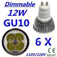 6pcs CREE Dimmable LED High power GU10 4x3W 12W led Light led Lamp led Downlight led bulb spotlight Free shipping