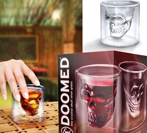 Factory Price 252 PCS/Lot Creative Doomed Crystal Skull Head Vodka Shot Glass, Novelty Skeleton Head Wineglass Cup Free Shipping(China (Mainland))