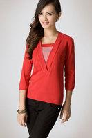 9315 preppy style viscose stripe faux two piece sweater