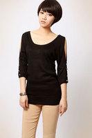 9246 lara fashion normic pseudo-ginsheng wool shoulder width batwing shirt