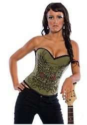 New Sexy Army Green / Sky Blue punk Rose Diamond print Corset Bustier Lingerie Sexy s-2xl(China (Mainland))