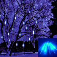 20CM 8 Tube 96 LED Snowfall Meteor Rain Tube Light Christmas Wedding Blue Outdoor Tree Garden Decoration