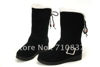 Women knee-high winter fashionable casual plush cotton martin boots ladies snow boot buckle platform rubber shoes 3 colors 35-40