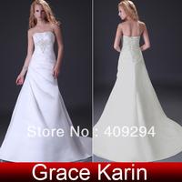 Free Shipping!Charming Princess Design Grace Karin Sexy Stock Strapless Satin Bride Beach Wedding Dress White&Ivory CL3555
