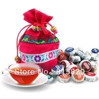 On Sale!!! 50pcs different Flavor Pu er, Pu'erh tea, Mini Yunnan Puer tea ,Chinese tea, With Gift Bag, Free Shipping