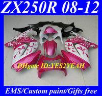 Injection Mold Fairing kit for KAWASAKI Ninja ZX250R ZX-250R 2008 2012 ZX 250R EX250 08 09 10 11 12 Flowers pink white Fairings