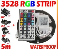 5M SMD 3528 RGB LED Strip 300Leds Flexible Waterproof Light + 44key IR Remote + 2A Transformer For Holiday Home party Decoration
