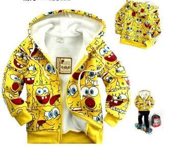 Балахон хлопка высшего ребенка Губка Боб кофты розницу НОВЫЕ 2013 детская одежда ...