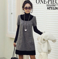 2013 women's o-neck grey short-sleeve plus size  one-piece dress