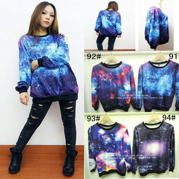 Hot Sale Galaxy Top Space Print Women's Tshirts Hoodies Pullovers Galaxy Stylish Blouse Round Jumper Top Freeshipping(China (Mainland))