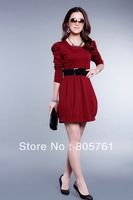 autumn and spring women's puff sleeve slim dress with Free Belt!4 colors size:M,L,XL,XXL CPAM Free Shipping