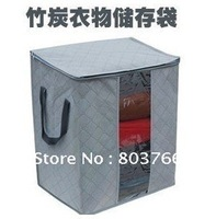 5pcs/lot Bamboo charcoal clothing storage bag sweater storage box saving space bedding organizer 65L 4colors for choice
