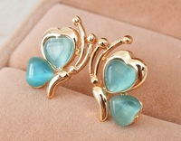 18K Gold Plating Lovely BUTTERFLY EARRINGS Stud with Opals FREE SHIPPING