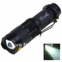 UltraFire SK68 3 Mode Cree Q5 350-Lumen Zooming LED Flashlight with Clip--Black (1*AA)