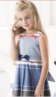 children girl princess dress bow white color girl's dresses size 2-12 Y