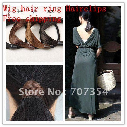 Free shipping Wholesale Wig hair ring Hairclips/Hairpins/Hairwear /HairAccessories wig headband hair rope elastic hair rope(China (Mainland))