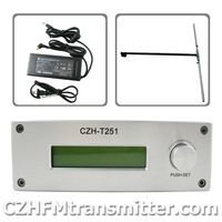 NEW CZH CZE-T251 0-25W power adjustable Professional FM stereo broadcast transmitter +1/2 wave dipole antenna  kit