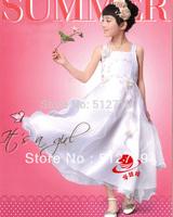 children one-piece cute flower ruffles white dresses girls dancing performance clothing.princess tank suspender flower dress