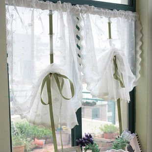 85x230cm,Draw string Embroidered retractable Curtains, Lovely lace curtain ,Free shipping by Hongkong Post.(China (Mainland))