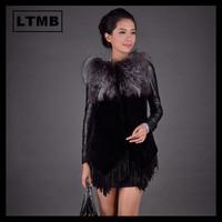 LTMB4526 Women fox fur shoulder sheepskin sleeve slim style full sleeve turn down fox fur collar  2014