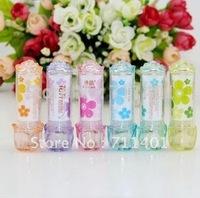 Free shipping  high quality  Flower fruit flavour lip balm Lip Smacker Kawaii lovely christmas gift present  24pcs/lot