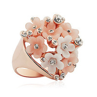 Resin Pink &White Flowers Romantic Ring Free Shipping R2380