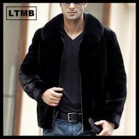 LTMB Men's mink fur coat turn down collar zipper front new fashion genuine leather jacket  full sleeve hot sell winter overcoat