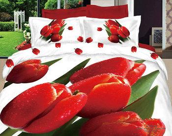 new bedlinen 4pcs Queen/Full romantic red tulip flower floral white cotton printed comforter/quilt/duvet covers bedding sets